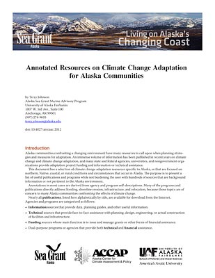 Annotated Resources on Climate Change Adaptation for Alaska Communities