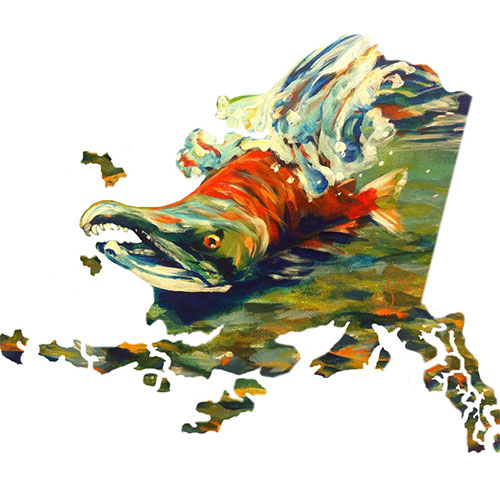 artwork with salmon and map of Alaska