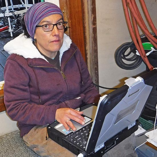 woman with laptop on ship