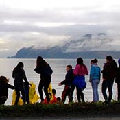 schoolchildren on Unalaska beach