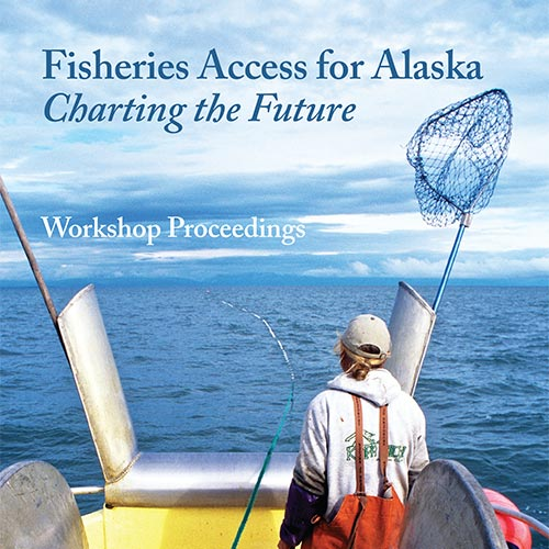 Fisheries Access for Alaska book cover with fisherman standing in the back of a boat