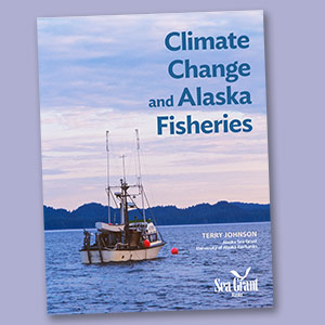 book cover with fishing boat and text Climate Change and Alaska Fisheries